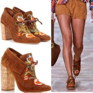 New Tory Burch Huntington beaded moccasin Booties